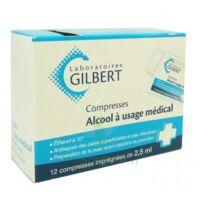 ALCOOL A USAGE MEDICAL GILBERT 2,5 ml Compr imprégnée 12Sach