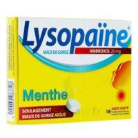 LYSOPAÏNE AMBROXOL 20 mg Pastille maux de gorge sans sucre menthe édulcorée au sorbitol et saccharine sodique Plq/18 à CHÂLONS-EN-CHAMPAGNE